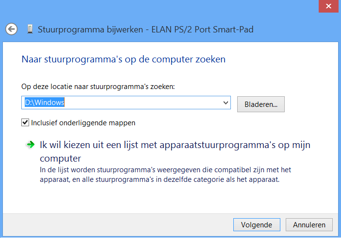 Afbeelding 7: Drivers voor randapparatuur onder Windows 8, meestal vindt Windows 8 ze zelf in de Windows map op de Windows 7 partitie.